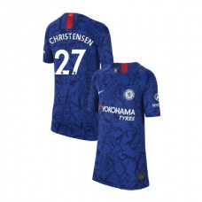 KIDS Chelsea Home Stadium #27 Andreas Christensen Blue Authentic Jersey 2019/20