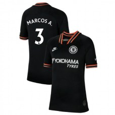 KIDS Chelsea Third #3 Marcos Alonso Black Authentic Jersey 2019/20