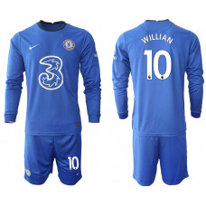 #10 Willian Chelsea 2020-21 Home Long-Sleeved Blue Soccer Jersey