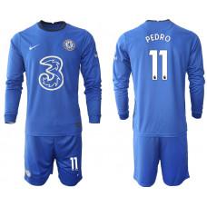 #11 Pedro Chelsea 2020-21 Home Long-Sleeved Blue Soccer Jersey
