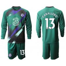 Chelsea 2020-21 Goalkeeper #13 Willy Caballero Long-Sleeved Blackish Green Soccer Jersey