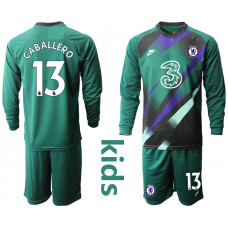 YOUTH - Chelsea 2020-21 Goalkeeper #13 Willy Caballero Blackish Green Long-Sleeved Soccer Jersey