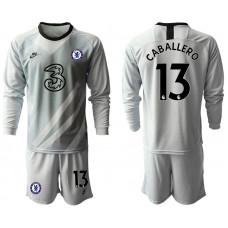 Chelsea 2020-21 Goalkeeper #13 Willy Caballero Pale Gray Long-Sleeved Soccer Jersey