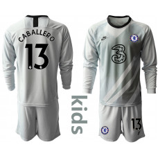 YOUTH - Chelsea 2020-21 Goalkeeper #13 Willy Caballero Pale Gray Long-Sleeved Soccer Jersey