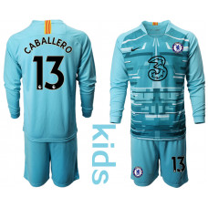 YOUTH - Chelsea 2020-21 Goalkeeper #13 Willy Caballero Pale Blue Long-Sleeved Soccer Jersey