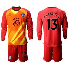 Chelsea 2020-21 Goalkeeper #13 Willy Caballero Red Long-Sleeved Soccer Jersey