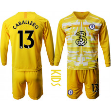 YOUTH - Chelsea 2020-21 Goalkeeper #13 Willy Caballero Yellow Long-Sleeved Soccer Jersey