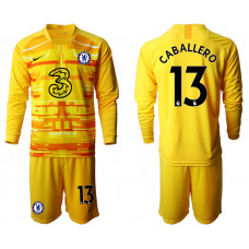 Chelsea 2020-21 Goalkeeper #13 Willy Caballero Yellow Long-Sleeved Soccer Jersey
