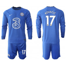 #17 Mateo Kovacic Chelsea 2020-21 Home Long-Sleeved Blue Soccer Jersey