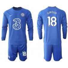 #18 Olivier Giroud Chelsea 2020-21 Home Long-Sleeved Blue Soccer Jersey
