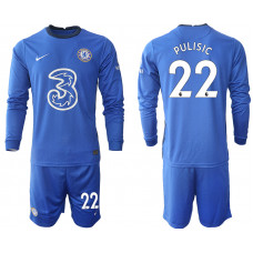 #22 Christian Pulisic Chelsea 2020-21 Home Long-Sleeved Blue Soccer Jersey