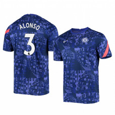 YOUTH - Chelsea 2020-21 Marcos Alonso Blue Pre-Match Authentic Jersey