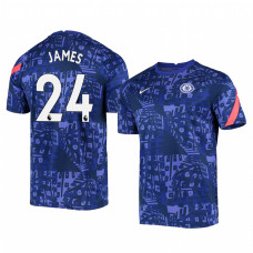 Chelsea 2020-21 Reece James Blue Pre-Match Authentic Jersey