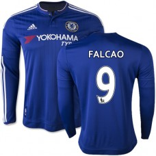 2015/16 Chelsea #9 Radamel Falcao Blue Home Long Sleeve Replica Shirt