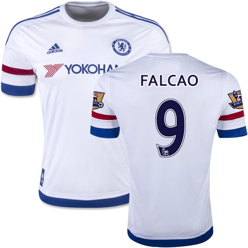 2015/16 Chelsea #9 Radamel Falcao White Away Replica Jersey