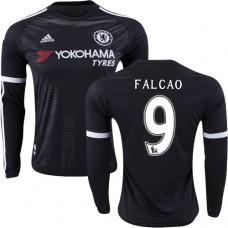 2015/16 Chelsea #9 Radamel Falcao Black Third Authentic Long Sleeve Shirt