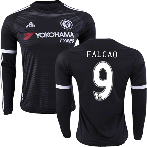2015/16 Chelsea #9 Radamel Falcao Black Third Long Sleeve Replica Shirt