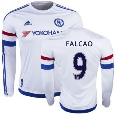 2015/16 Chelsea #9 Radamel Falcao White Away Long Sleeve Replica Shirt