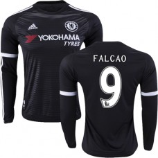 Youth 2015/16 Chelsea #9 Radamel Falcao Black Third Authentic Long Sleeve Shirt