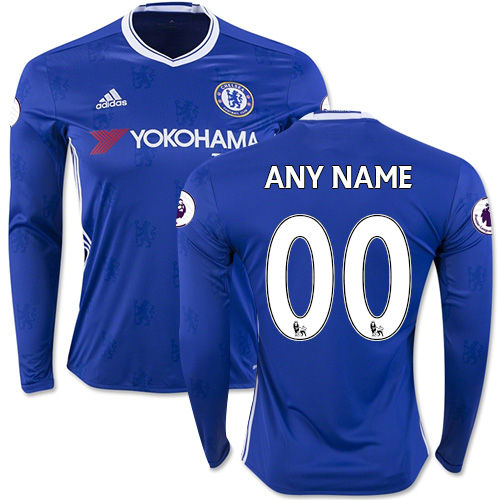 Adult Men's Customized 2016/17 Chelsea Blue Long Sleeve Home Authentic Jersey