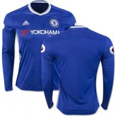 Adult Men's 16/17 Chelsea Blank Authentic Blue Home Long Sleeve Jersey - 2016/17 Premier League Soccer Shirt