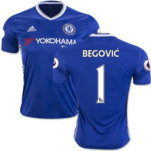 Adult Men's 16/17 Chelsea #1 Asmir Begovic Authentic Blue Home Jersey - 2016/17 Premier League Soccer Shirt
