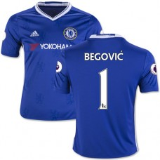 Kid's 16/17 Chelsea #1 Asmir Begovic Authentic Blue Home Jersey - 2016/17 Premier League Soccer Shirt
