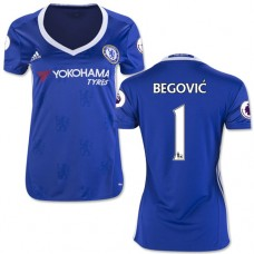 Women's 16/17 Chelsea #1 Asmir Begovic Authentic Blue Home Jersey - 2016/17 Premier League Soccer Shirt