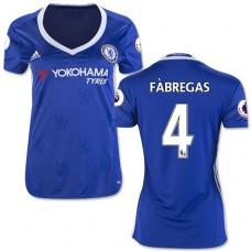 Women's 16/17 Chelsea #4 Cesc Fabregas Authentic Blue Home Jersey - 2016/17 Premier League Soccer Shirt