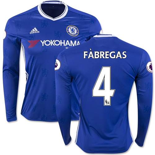 Adult Men's 16/17 Chelsea #4 Cesc Fabregas Blue Home Long Sleeve Replica Jersey - 2016/17 Premier League Soccer Shirt