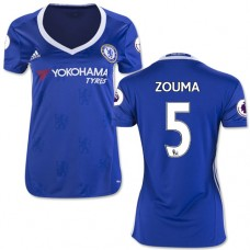 Women's 16/17 Chelsea #5 Kurt Zouma Authentic Blue Home Jersey - 2016/17 Premier League Soccer Shirt