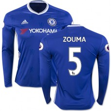 Adult Men's 16/17 Chelsea #5 Kurt Zouma Authentic Blue Home Long Sleeve Jersey - 2016/17 Premier League Soccer Shirt