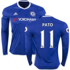 Adult Men's 16/17 Chelsea #11 Alexandre Pato Blue Home Long Sleeve Replica Jersey - 2016/17 Premier League Soccer Shirt