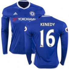 Adult Men's 16/17 Chelsea #16 Kenedy Authentic Blue Home Long Sleeve Jersey - 2016/17 Premier League Soccer Shirt