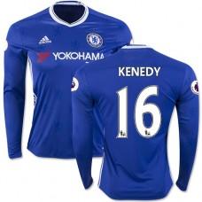 Adult Men's 16/17 Chelsea #16 Kenedy Authentic Blue Home Long Sleeve Jersey - 2016/17 Premier League Soccer Shirt