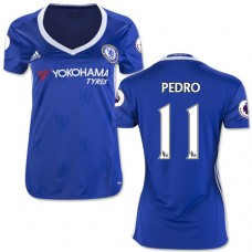 Women's 16/17 Chelsea #11 Pedro Authentic Blue Home Jersey - 2016/17 Premier League Soccer Shirt