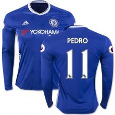 Adult Men's 16/17 Chelsea #11 Pedro Authentic Blue Home Long Sleeve Jersey - 2016/17 Premier League Soccer Shirt