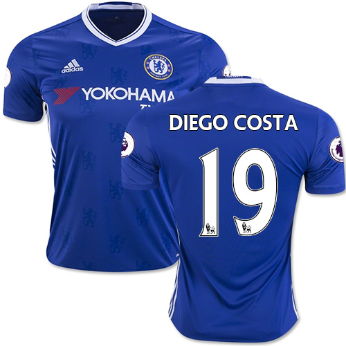 Adult Men's 16/17 Chelsea #19 Diego Costa Authentic Blue Home Jersey - 2016/17 Premier League Soccer Shirt