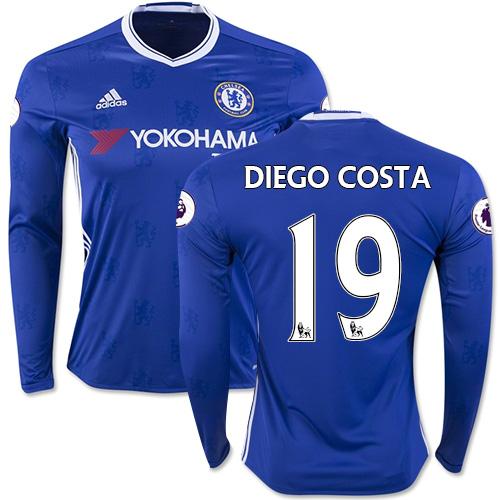 Adult Men's 16/17 Chelsea #19 Diego Costa Authentic Blue Home Long Sleeve Jersey - 2016/17 Premier League Soccer Shirt