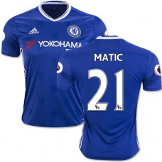 Adult Men's 16/17 Chelsea #21 Nemanja Matic Authentic Blue Home Jersey - 2016/17 Premier League Soccer Shirt