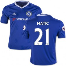 Kid's 16/17 Chelsea #21 Nemanja Matic Blue Home Replica Jersey - 2016/17 Premier League Soccer Shirt