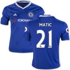 Kid's 16/17 Chelsea #21 Nemanja Matic Blue Home Replica Jersey - 2016/17 Premier League Soccer Shirt