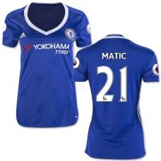 Women's 16/17 Chelsea #21 Nemanja Matic Blue Home Replica Jersey - 2016/17 Premier League Soccer Shirt
