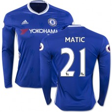 Adult Men's 16/17 Chelsea #21 Nemanja Matic Authentic Blue Home Long Sleeve Jersey - 2016/17 Premier League Soccer Shirt