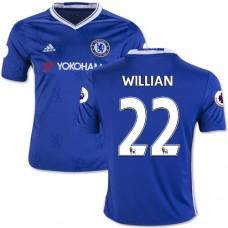 Kid's 16/17 Chelsea #22 Willian Authentic Blue Home Jersey - 2016/17 Premier League Soccer Shirt