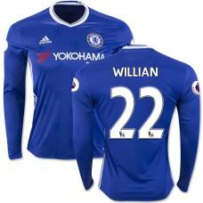 Adult Men's 16/17 Chelsea #22 Willian Authentic Blue Home Long Sleeve Jersey - 2016/17 Premier League Soccer Shirt