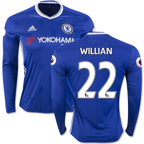 Adult Men's 16/17 Chelsea #22 Willian Blue Home Long Sleeve Replica Jersey  ...