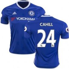 Adult Men's 16/17 Chelsea #24 Gary Cahill Authentic Blue Home Jersey - 2016/17 Premier League Soccer Shirt