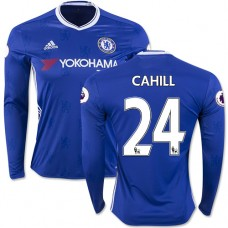 Adult Men's 16/17 Chelsea #24 Gary Cahill Authentic Blue Home Long Sleeve Jersey - 2016/17 Premier League Soccer Shirt