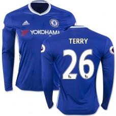 Adult Men's 16/17 Chelsea #26 John Terry Authentic Blue Home Long Sleeve Jersey - 2016/17 Premier League Soccer Shirt